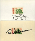 Football Collectibles:Balls, Jerry Jones and Tex Schramm Signed Index Cards Lot of 2. The two executives most responsible for the grandeur that is Ameri...
