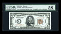 Small Size:World War II Emergency Notes, Fr. 2301 $5 1934 Hawaii Federal Reserve Note. PMG Choice About Unc58.. ...