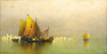 Fine Art - Painting, American:Antique  (Pre 1900), ANDREW FISHER BUNNER (American, 1841-1897). Venetian Lagoon.Oil on canvas. 12 x 24 inches (30.5 x 61.0 cm). Signed lowe...