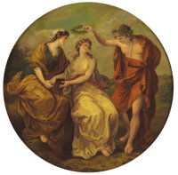 Manner of ANGELICA KAUFFMANN (Swiss, 1741-1807) Apollo, Clio and Calliope Oil on copper roundel 1