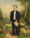 Fine Art - Painting, American:Antique  (Pre 1900), WILLIAM AIKEN WALKER (American, 1828-1921). Portrait of aBoy. Oil on canvas. 20 x 16 inches (50.8 x 40.6 cm). Signedin...