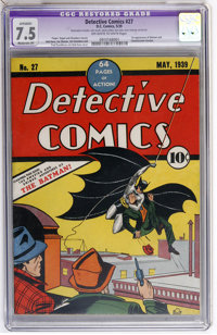 Detective Comics #27 (DC, 1939) CGC Apparent VF- 7.5 Moderate (P) Off-white to white pages