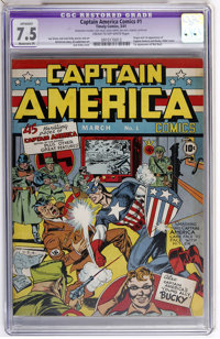 Captain America Comics #1 (Timely, 1941) CGC Apparent VF- 7.5 Moderate (P) Cream to off-white pages