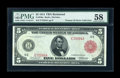 Fr. 836a $5 1914 Red Seal Federal Reserve Note PMG Choice About Unc 58