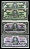 Canadian Currency: , King George VI $1s and $10s. ... (Total: 4 notes)