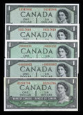Canadian Currency: , 1954 Devil's Face and Modified Portrait $1s. ... (Total: 5 notes)