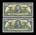 Canadian Currency: , King George VI $20s. ... (Total: 2 notes)