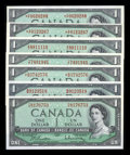 Canadian Currency: , 1954 Modified Portrait $1s. ... (Total: 7 notes)