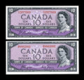 Canadian Currency: , $10 1954 Devil's Face Notes. ... (Total: 2 notes)