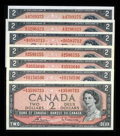 Canadian Currency: , Modified Portrait 1954 $2s. ... (Total: 7 notes)