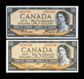 Canadian Currency: , Modified Portrait 1954 $50s. ... (Total: 2 notes)