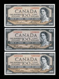 Canadian Currency: , Modified Portrait 1954 $100s. ... (Total: 3 notes)