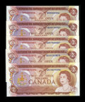 Canadian Currency: , 1974 $2s Choice Crisp Uncirculated or Better. ... (Total: 5 notes)