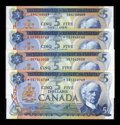Canadian Currency: , 1972 $5s Choice Crisp Uncirculated or Better. ... (Total: 4 notes)
