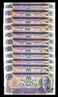 Canadian Currency: , 1971 $10s. ... (Total: 11 notes)