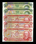 Canadian Currency: , 1969 $20s and 1975 $50s. ... (Total: 5 notes)