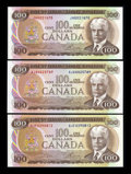 Canadian Currency: , 1975 $100s Choice Crisp Uncirculated or Better. ... (Total: 3notes)