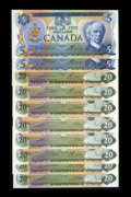 Canadian Currency: , 1979 $5s and $20s Choice Crisp Uncirculated or Better. ... (Total: 10 notes)