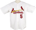 """Baseball Collectibles:Uniforms, 2001 Albert Pujols Game Worn Rookie Home """"Flag"""" Jersey. Don't tellTed Williams, but there has been talk that this devastati..."""
