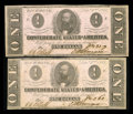 Confederate Notes:1862 Issues, Two Consecutive T-55's. PF-7, Cr. 398.. ... (Total: 2 notes)
