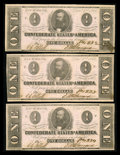 Confederate Notes:1862 Issues, Three Consecutive T-55's. PF-7, Cr. 398.. ... (Total: 3 notes)