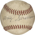 "Autographs:Baseballs, Monty Stratton Single Signed Baseball. It was Stratton's trickpitch called the ""Gander"" that helped him rise to the ranks ..."