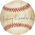 Autographs:Baseballs, Johnny Vander Meer Single Signed Baseball. Not only was JohnnyVander Meer the only man in the history of the game to toss ...