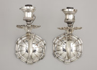 A PAIR OF AMERICAN SILVER-PLATE WALL SCONCES Attributed to Edward F. Caldwell & Co., New York, early 20th century&am...