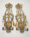 Decorative Arts, Continental:Other , A PAIR OF NEOCLASSICAL-STYLE GILT WOOD TWO-LIGHT SCONCES. 20th Century. 27 inches (68.6 cm) high. ... (Total: 2 Items)