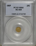 California Fractional Gold: , 1869 25C Liberty Round 25 Cents, BG-828, High R.4, MS61 PCGS. PCGSPopulation (8/33). NGC Census: (2/5). (#10689)...