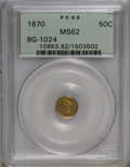 California Fractional Gold: , 1870 50C Liberty Round 50 Cents, BG-1024, Low R.4, MS62 PCGS. PCGSPopulation (40/19). NGC Census: (6/5). (#10853)...