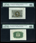 Fractional Currency:Second Issue, Fr. 1244SP 10¢ Second Issue Wide Margin Pair PMG Gem Uncirculated 66 EPQ, PMG Choice Uncirculated 64.. ... (Total: 2 notes)