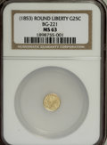 California Fractional Gold: , Undated 25C Liberty Round 25 Cents, BG-221, R.3, MS63 NGC. NGCCensus: (8/3). PCGS Population (51/39). (#10406)...