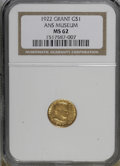 Commemorative Gold, 1922 G$1 Grant no Star MS62 NGC. Ex:Ans Museum. NGC Census:(74/923). PCGS Population (118/1722). Mintage: 5,000. Numis...