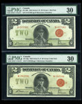 Canadian Currency: , DC-26b $2 1923. DC-26g $2 1923. ... (Total: 2 notes)