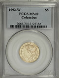 Modern Issues: , 1992-W G$5 Columbus Gold Five Dollar MS70 PCGS. PCGS Population(152/0). NGC Census: (672/0). Mintage: 24,329. Numismedia W...