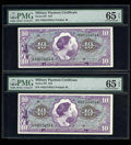 Military Payment Certificates:Series 651, Series 651 $10 Two Consecutive Examples PMG Gem Uncirculated 65EPQ.... (Total: 2 notes)
