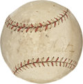 "Autographs:Baseballs, 1920s ""Babe"" Ruth Single Signed Baseball. Based in the two-tonestitching and presence of the quotation marks around the Ba..."