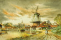 Fine Art - Painting, European:Modern  (1900 1949)  , LOUIS VAN STAATEN (Dutch, 1836-1909). Dutch Scene. Watercolor on paper. 15-1/2 x 23-1/2 inches (39.4 x 59.7 cm). Signed ...