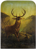 Fine Art - Painting, European:Antique  (Pre 1900), JEAN PHILIPPE GEORGE-JULLIARD (Swiss, 1818-1888). The Stag'sWarning, 1865. Oil on canvas. 27 x 20 inches (68.6 x 50.8 c...