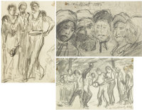 ABRAHAM WALKOWITZ (American, 1880-1965) A Group of Three Figure Studies, 1895-1899 Pencil on paper