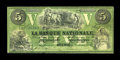 Canadian Currency: , Quebec, PQ- La Banque Nationale $5 April 28, 1860 Ch. # 510-10-04-10. ...