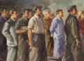 Fine Art - Painting, American:Contemporary   (1950 to present)  , AMERICAN SCHOOL (20th Century). Worker's Meeting, 1955. Oilon canvas. 24 x 32 inches (61.0 x 81.3 cm). Signed lower rig...
