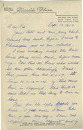 Autographs:Letters, 1943 Earle Combs Signed Handwritten Letter. Charming handwrittenletter dated September 1943 is addressed to one of the Hal...