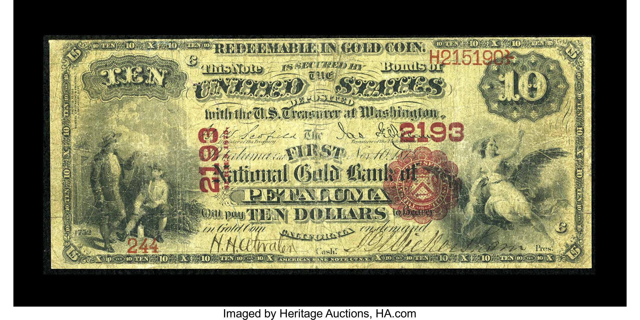 US Gold Banknote 1875 Year 1 Usd Bill Note Paper Money with Plastic Card