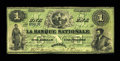 Canadian Currency: , Quebec, PC- La Banque Nationale $1 May 25, 1860 Ch. # 510-10-04-04....