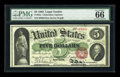 Large Size:Legal Tender Notes, Fr. 63a $5 1863 Legal Tender PMG Gem Uncirculated 66....