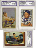 Autographs:Sports Cards, 1950's Bowman Mickey Mantle Cards Lot of 3, Signed. Three earlycards honoring the rising Yankee star, each signed years la...