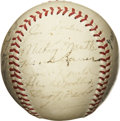 Autographs:Baseballs, 1952 New York Yankees Team Signed Baseball. The fourth of fiveconsecutive World Championship seasons for the mighty Bronx ...