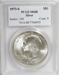 Eisenhower Dollars: , 1973-S $1 Silver MS68 PCGS. PCGS Population (758/4). NGC Census: (93/1). Mintage: 869,400. Numismedia Wsl. Price for NGC/PC...